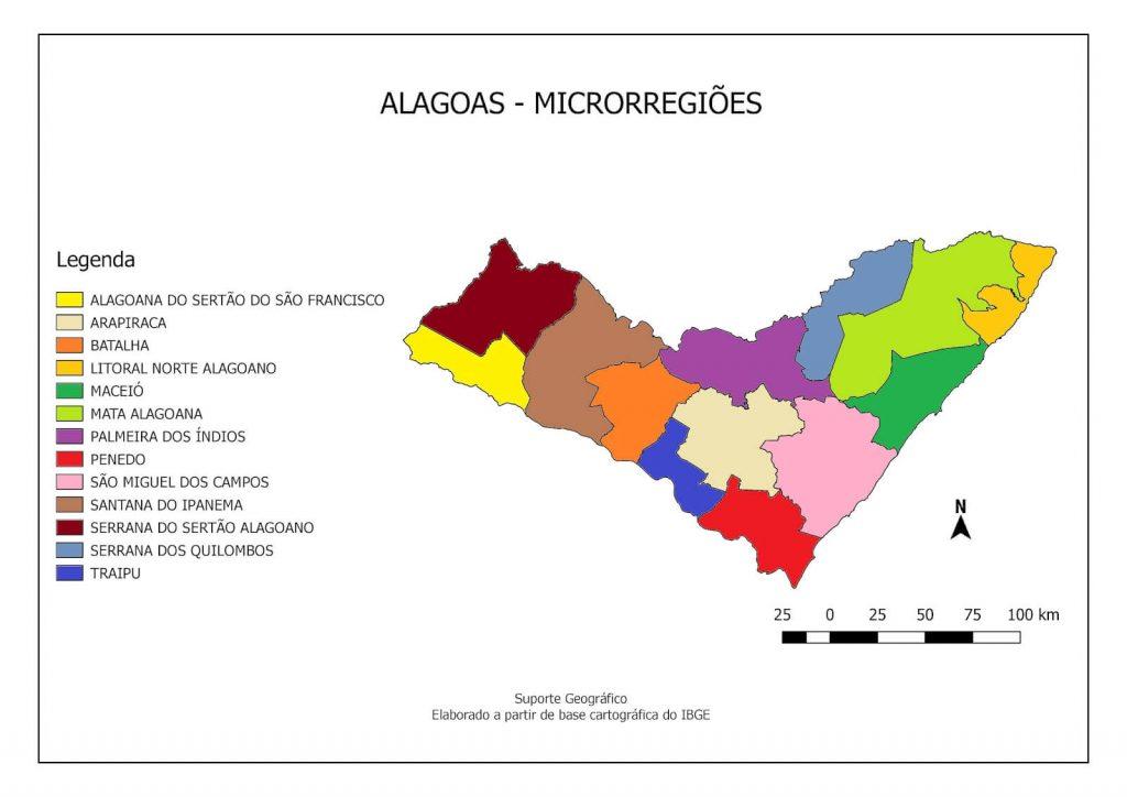 mapa regiões Alagoas