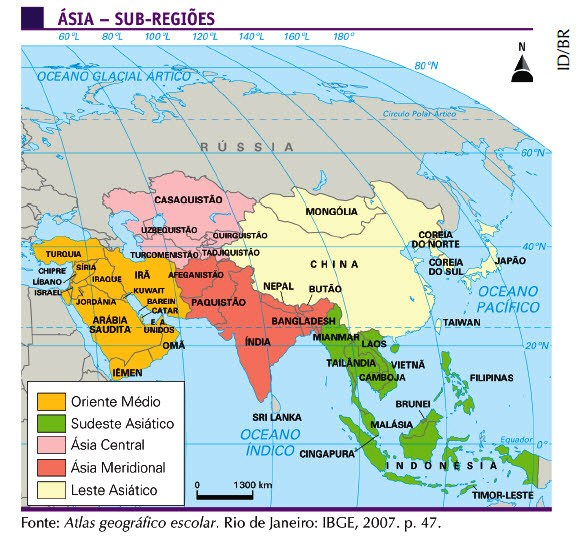 mapa regiões Ásia