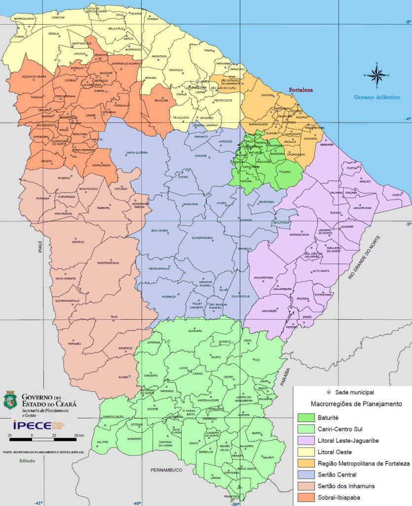 mapa regiões Ceará