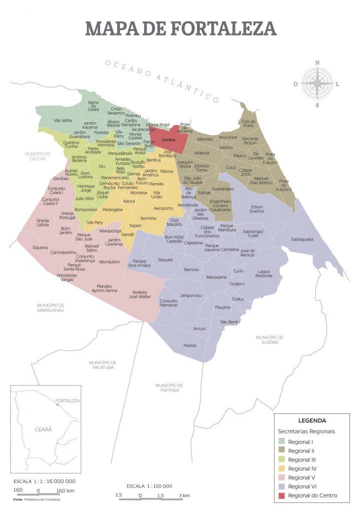 mapa regiões Fortaleza
