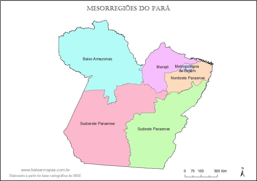 mapa regiões Pará