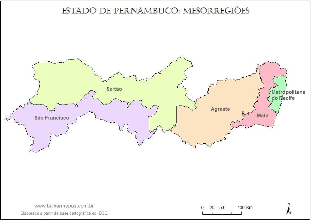 mapa Regiões Pernambuco