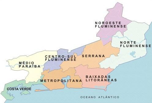 mapa regiões Rio de Janeiro
