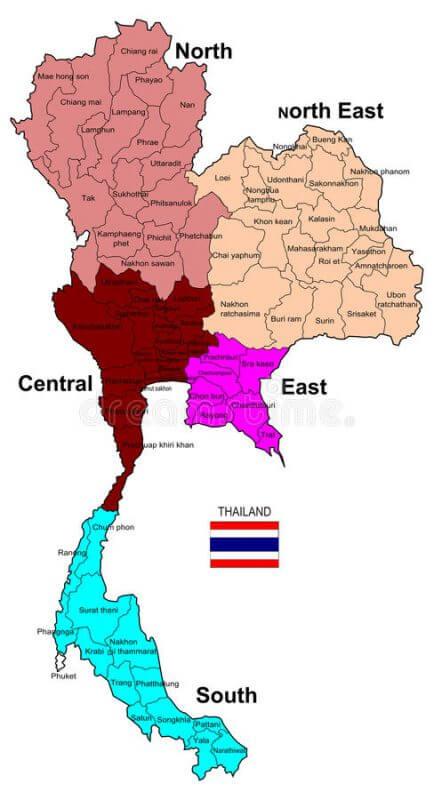 mapa regiões Tailândia