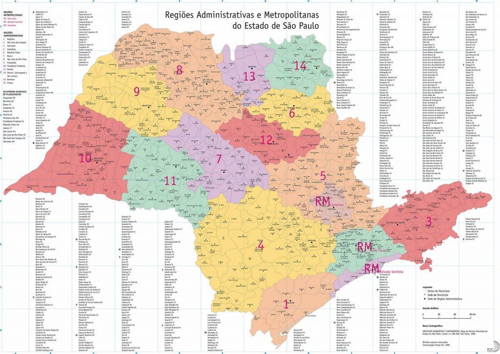 mapa regiões São Paulo
