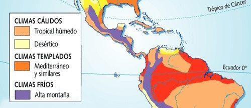 mapa clima América Central