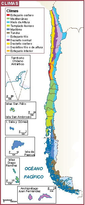 mapa clima Chile
