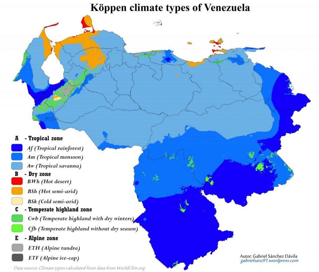mapa clima Venezuela