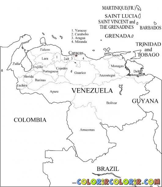 mapa colorir Venezuela