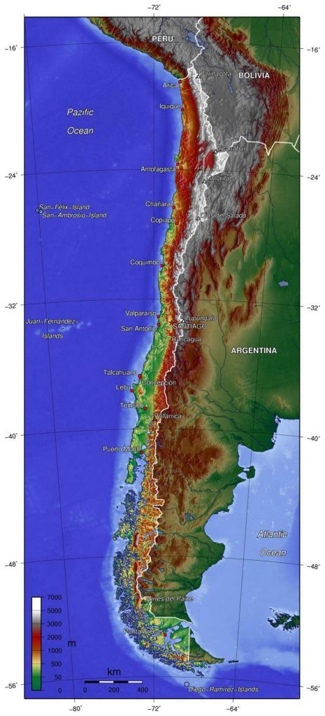 mapa físico Chile