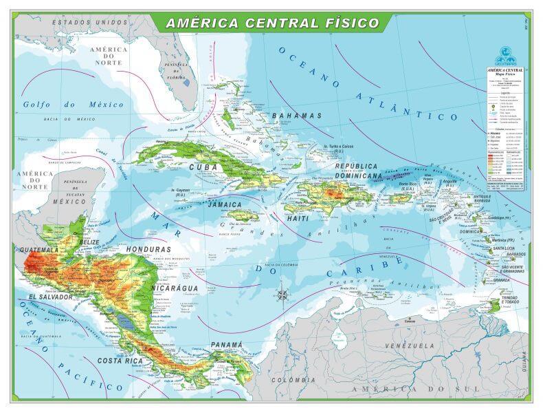 mapa físico América Central