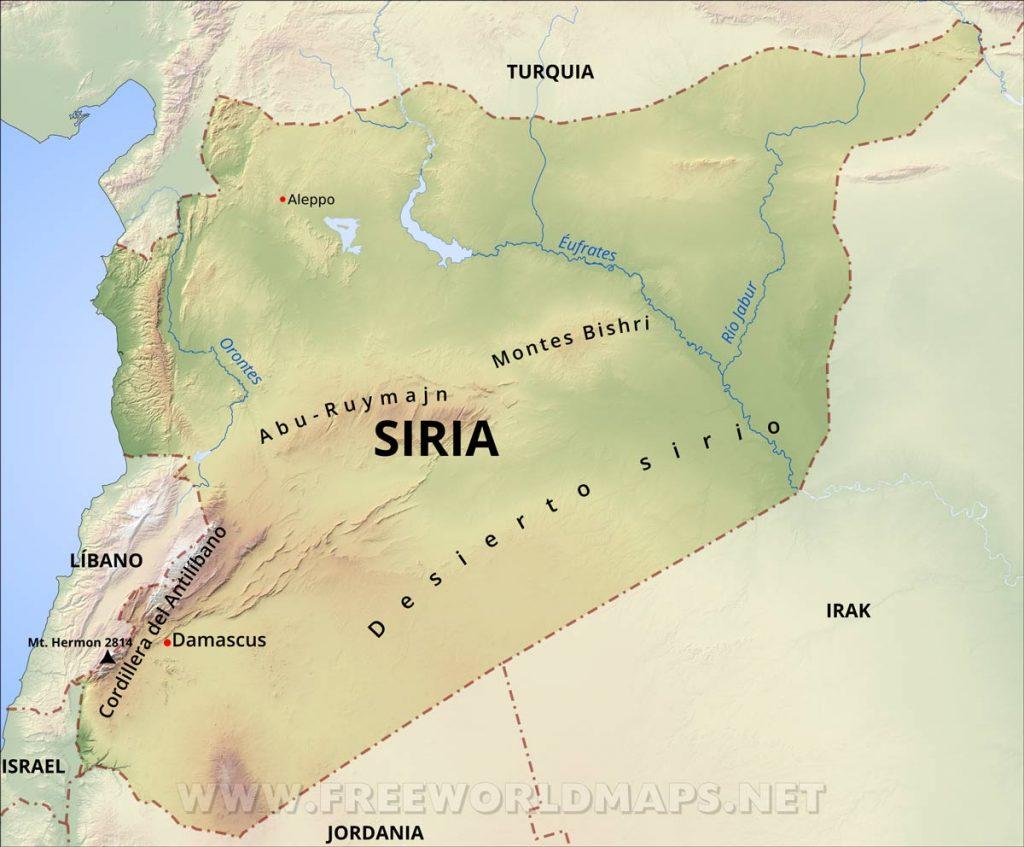 mapa físico Síria