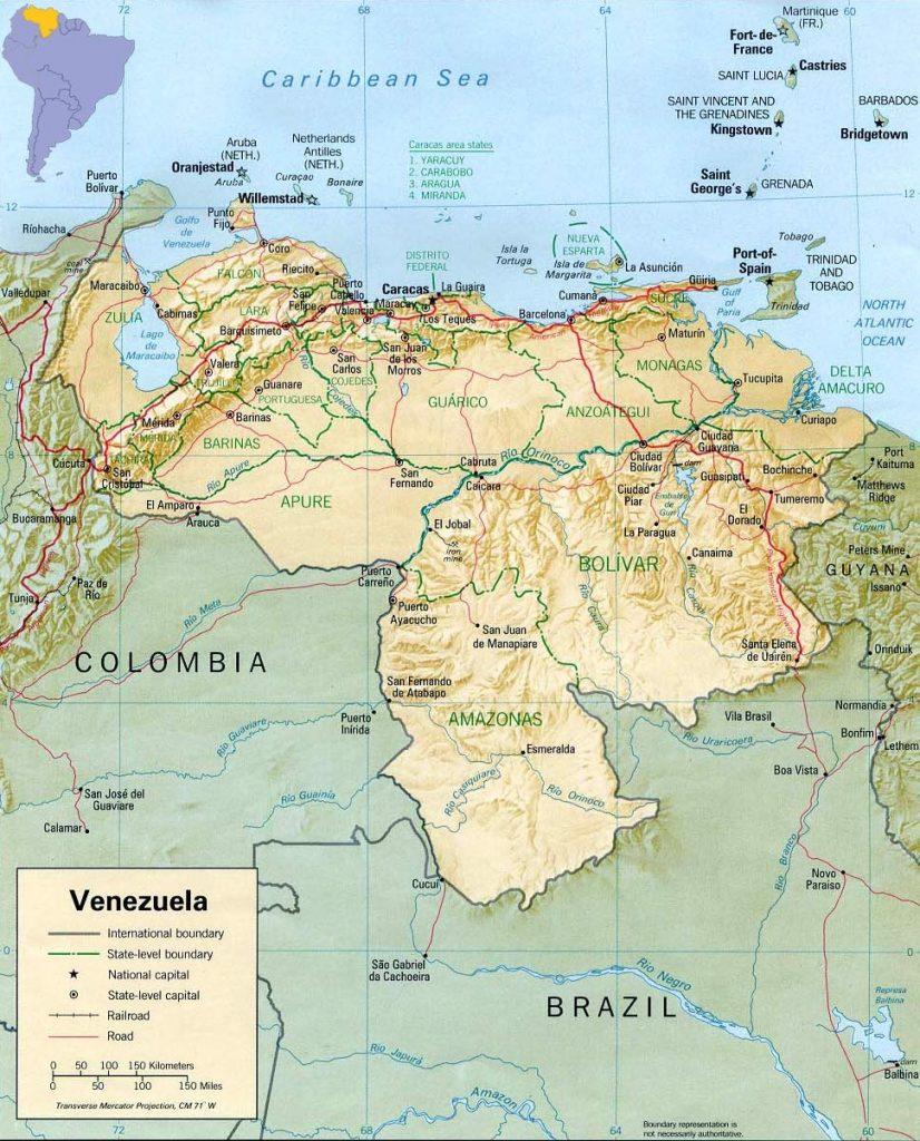 mapa físico Venezuela