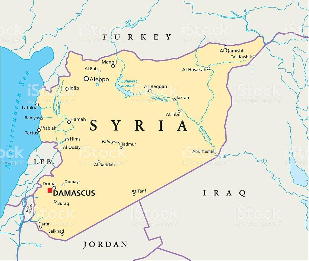 mapa político Síria
