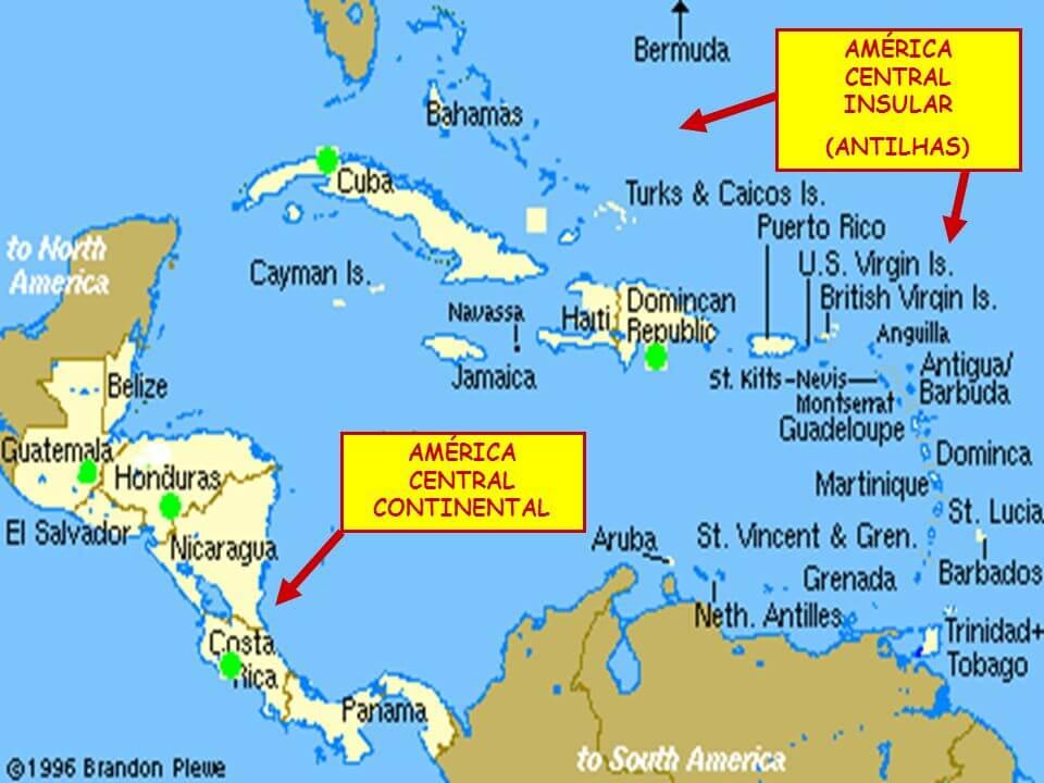 mapa regiões América Central