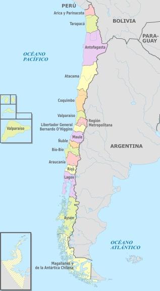 mapa regiões Chile