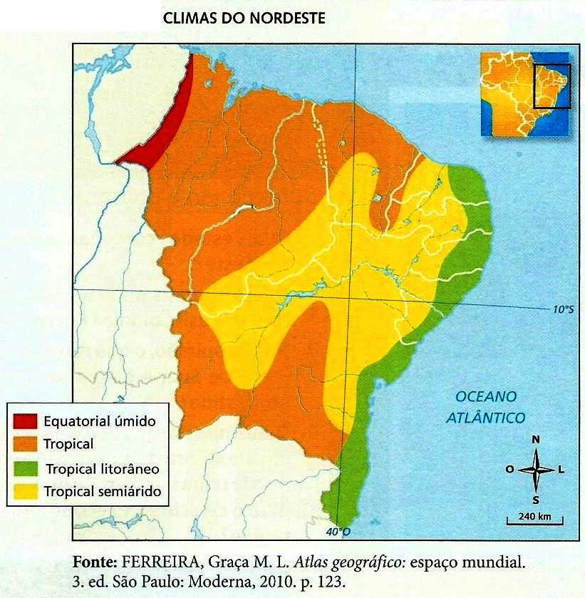 Mapa de Climas Região Nordeste Brasil
